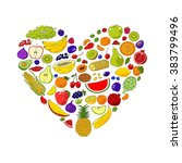 heart from fruits. food hand... | Shutterstock . vector #383799496