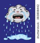 cartoon crying cloud. tears... | Shutterstock .eps vector #383808442