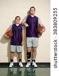 tall and short basketball... | Shutterstock . vector #383809255