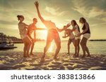 friends funny game on the beach ... | Shutterstock . vector #383813866