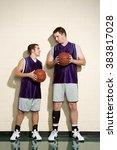tall and short basketball... | Shutterstock . vector #383817028