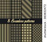 set of 8 seamless golden... | Shutterstock .eps vector #383832472