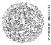 cartoon vector hand drawn... | Shutterstock .eps vector #383834758