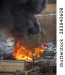 heavy car fire blazing with... | Shutterstock . vector #383840608
