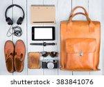 travel concept   tablet pc ... | Shutterstock . vector #383841076