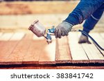 man using protective gloves... | Shutterstock . vector #383841742
