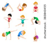 kids yoga poses  gymnastics ... | Shutterstock .eps vector #383843455