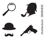 black icon detective crime set   Shutterstock .eps vector #38384830