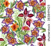 seamless floral pattern on... | Shutterstock . vector #383849425