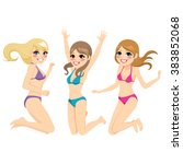 three beautiful young teenager... | Shutterstock .eps vector #383852068