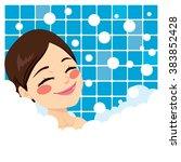bathing woman relaxing in...   Shutterstock .eps vector #383852428