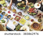 meal food party celebrate cafe... | Shutterstock . vector #383862976