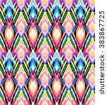 colorful ikat stripes print  ... | Shutterstock .eps vector #383867725