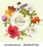 Herbal Tea Round Banner With...