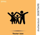 happy family icon in simple... | Shutterstock .eps vector #383870698