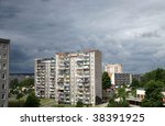 Typical socialist block of flats in Gdynia, Poland. East Europe. - stock photo