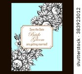 invitation with floral... | Shutterstock . vector #383923012