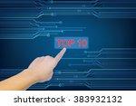word man hand push button ... | Shutterstock . vector #383932132