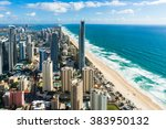 aerial of city and beach.... | Shutterstock . vector #383950132