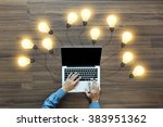 working on laptop computer pc... | Shutterstock . vector #383951362