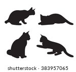 set of cats silhouettes... | Shutterstock .eps vector #383957065