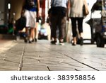 people walking on the sidewalk... | Shutterstock . vector #383958856