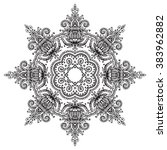 vector mandala with hand drawn... | Shutterstock .eps vector #383962882