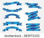 set of blue ribbons.vector... | Shutterstock .eps vector #383972152
