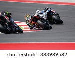 Small photo of Misano Adriatico, Italy - June 21, 2015: Aprilia RSV4 RF of Nuova M2 Racing Team, driven by CALIA Kevin in action during the Superstock 1000 Race during the FIM Superstock 1000