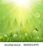 spring background with flowers... | Shutterstock . vector #384001495