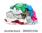 big heap of colorful clothes... | Shutterstock . vector #384001546