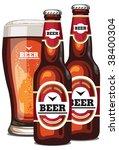 a vector  bottles and a glass... | Shutterstock .eps vector #38400304
