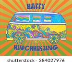 hippie vintage car a mini van.... | Shutterstock .eps vector #384027976
