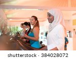 group of women exercising in gym   Shutterstock . vector #384028072