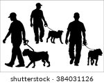 Stock vector a man walking with a dog on a leash silhouette on a white background 384031126