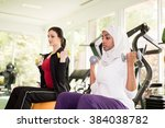 group of women exercising in gym | Shutterstock . vector #384038782