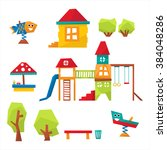 children playground set flat... | Shutterstock .eps vector #384048286