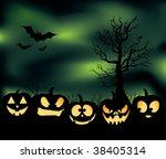 an eerie pumpkin patch with...   Shutterstock .eps vector #38405314