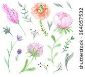 set of watercolor spring... | Shutterstock . vector #384057532