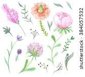 set of watercolor spring... | Shutterstock . vector #384057532
