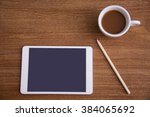 high angle view of coffee and... | Shutterstock . vector #384065692