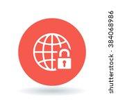 secure internet icon. globe... | Shutterstock .eps vector #384068986