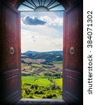 Old Open Door And Landscape Of...