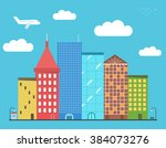 lovely colorful city downtown... | Shutterstock .eps vector #384073276