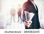 businessman with money in hand  ... | Shutterstock . vector #384082645