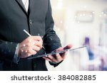businessman using digital... | Shutterstock . vector #384082885