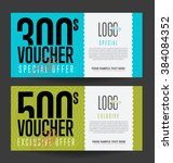 gift voucher template with... | Shutterstock .eps vector #384084352