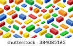 isometric plastic building... | Shutterstock .eps vector #384085162