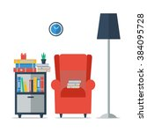 room interior with bookcase ... | Shutterstock . vector #384095728