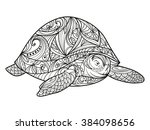 turtle coloring book for adults ... | Shutterstock .eps vector #384098656